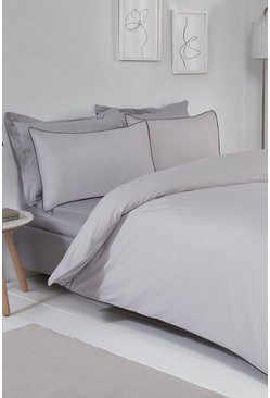 Grey Contrast Piped King Duvet Set