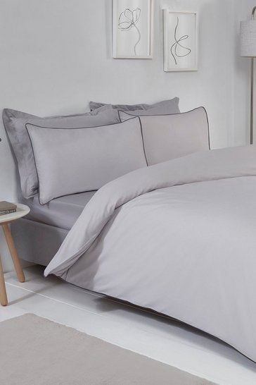 Grey Contrast Piped Double Duvet Set