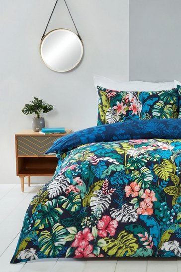 Navy Tropical Jungle Print Double Duvet Set