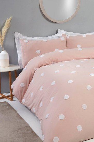 Blush pink Polka Dot Double Duvet Set