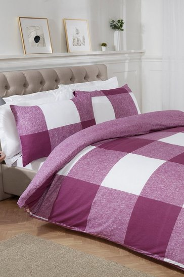 Pink Chunky Gingham Double Duvet Set