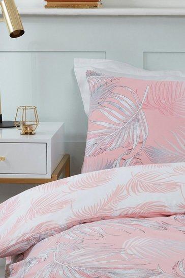 Coral pink Palm Print Super King Duvet Set