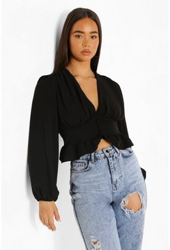 Black Button Up Peplum Blouse