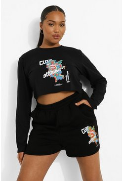 Plus Cupid Graphic Cropped T Shirt, Black nero