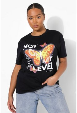 T-shirt oversize Plus con scritta Not On My Level , Nero