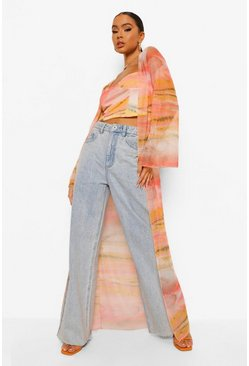 Peach orange Printed Long Mesh Kimono