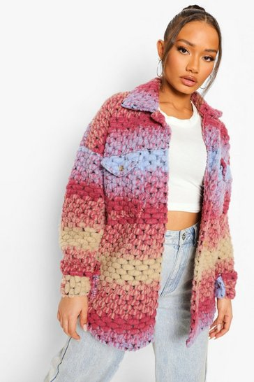 Multi Ombre Knitted Wool Shacket
