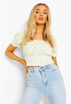 Yellow Ditsy Floral Puff Sleeve Crop Top