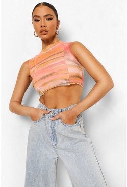 Peach orange Seam Detail Cami Crop Top