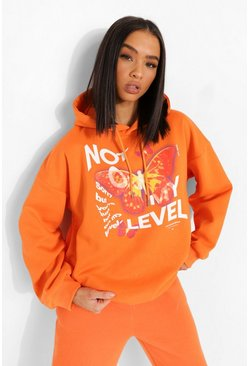 Orange Not On My Level Hooded Sweatshirt