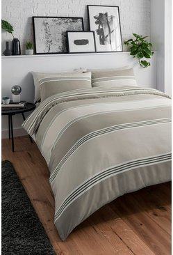 Natural Banded Stripe Double Duvet Set