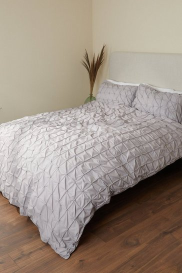 Light Grey Rouched Pleat King Duvet Set