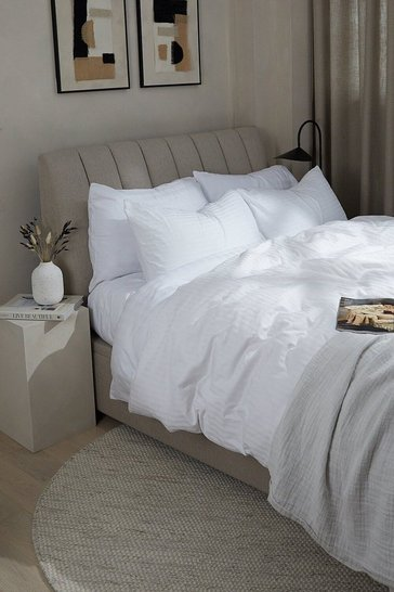 White Satin Stripe Super King Duvet Set
