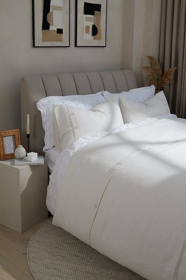 Cream Waffle Super King Duvet Set