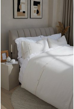 Cream Waffle Single Duvet Set