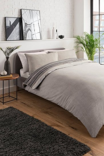 Brown Textured Stripe Single Duvet Set