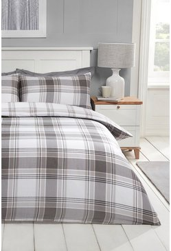 Grey Check Print Double Duvet Set