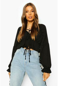 Ruched Chiffon Blouse, Black schwarz