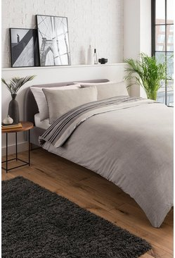 Brown Textured Stripe Double Duvet Set