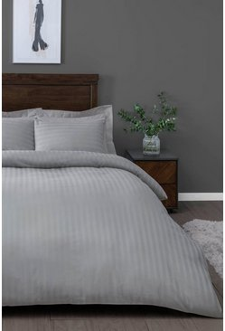 Silver Satin Stripe Double Duvet Set