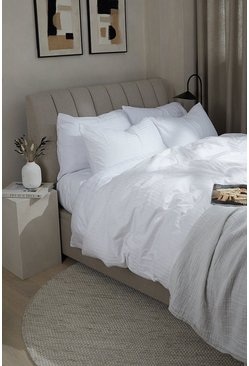 White Satin Stripe Double Duvet Set