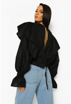 Black Open Tie Back Ruffle Blouse