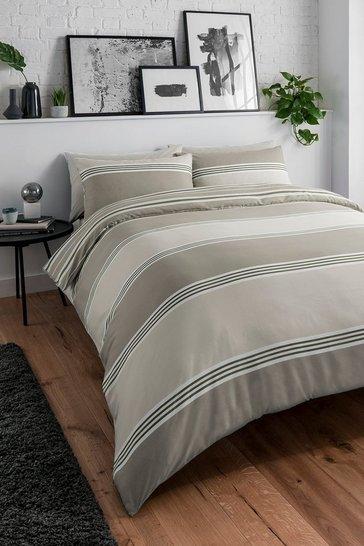 Natural Banded Stripe Single Duvet Set