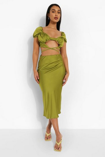 Olive green Satin Knot Crop & Midaxi Slip Skirt