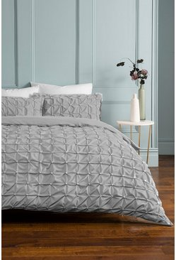 Light grey Rouched Pleat Double Duvet Set