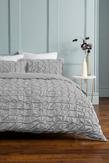 Light grey grey Rouched Pleat Double Duvet Set