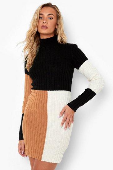 Camel beige Colour Block Rib Knit Dress