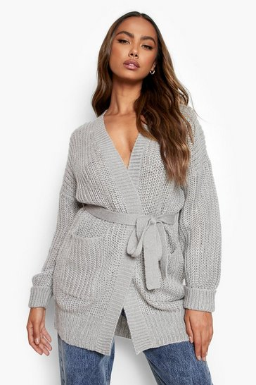 Grey Edge To Edge Chunky Knit Cardigan
