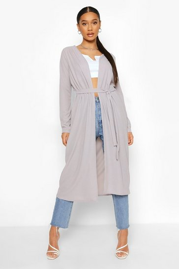Ash grey Ribbed Tie Detail Duster