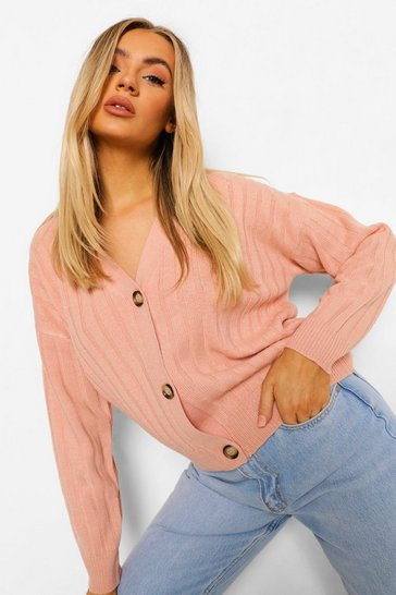 Blush pink Rib Knit Crop Cardigan