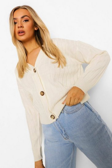 Ivory white Rib Knit Crop Cardigan