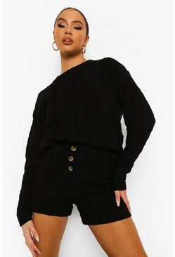 Black Cable Knit Button Short Set