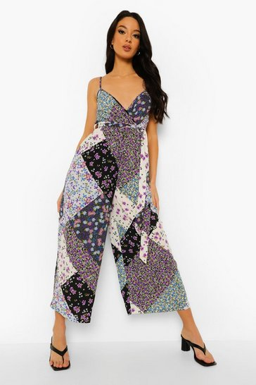 Lilac purple Mixed Floral Tie Waist Culotte Jumpsuit