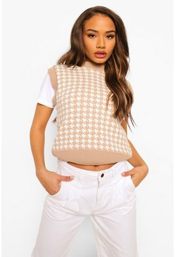 Stone beige Cropped Dogtooth Crew Neck Knitted Tank