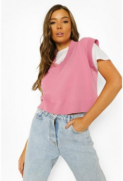Dusky pink pink Knitted Cropped V Neck Vest