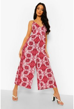 Tie Strap Paisley Print Culotte Jumpsuit, Red rot