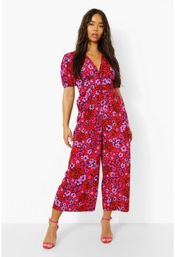 Red Floral V Neck Puff Sleeve Wide Leg Jumpsuit