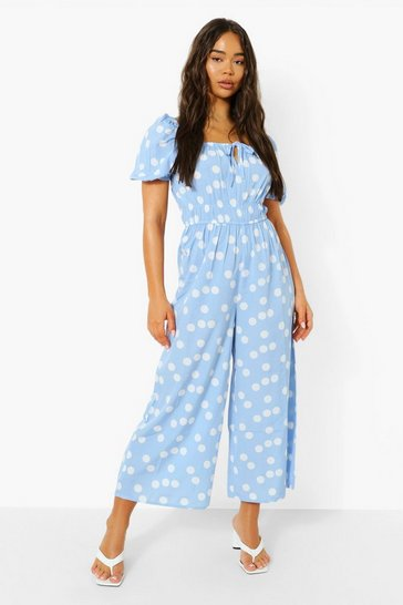 Blue Polka Tie Front Puff Sleeve Culotte Jumpsuit