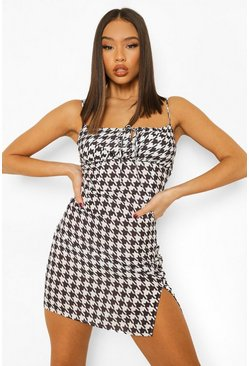 Black Dogtooth Tie Front Mini Dress