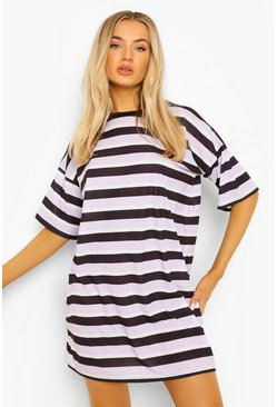 Lilac purple Stripe T-shirt Dress