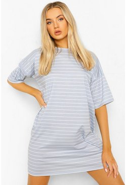 Grey Stripe T-shirt Dress