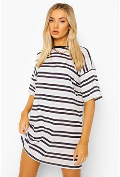 Black Stripe T-shirt Dress