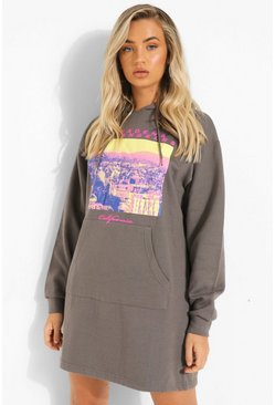Charcoal grey Los Angeles Graphic Hoodie Dress
