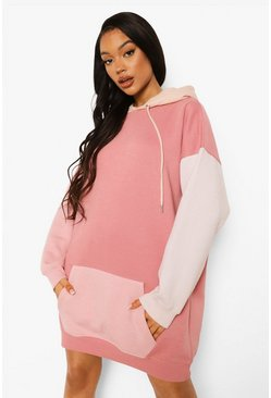 Rose pink Colour Block Hoodie Dress