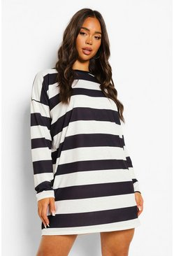 Black Stripe Long Sleeve T-shirt Dress