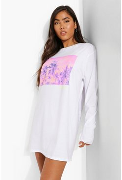 White Palm Springs Long Sleeve T-shirt Dress